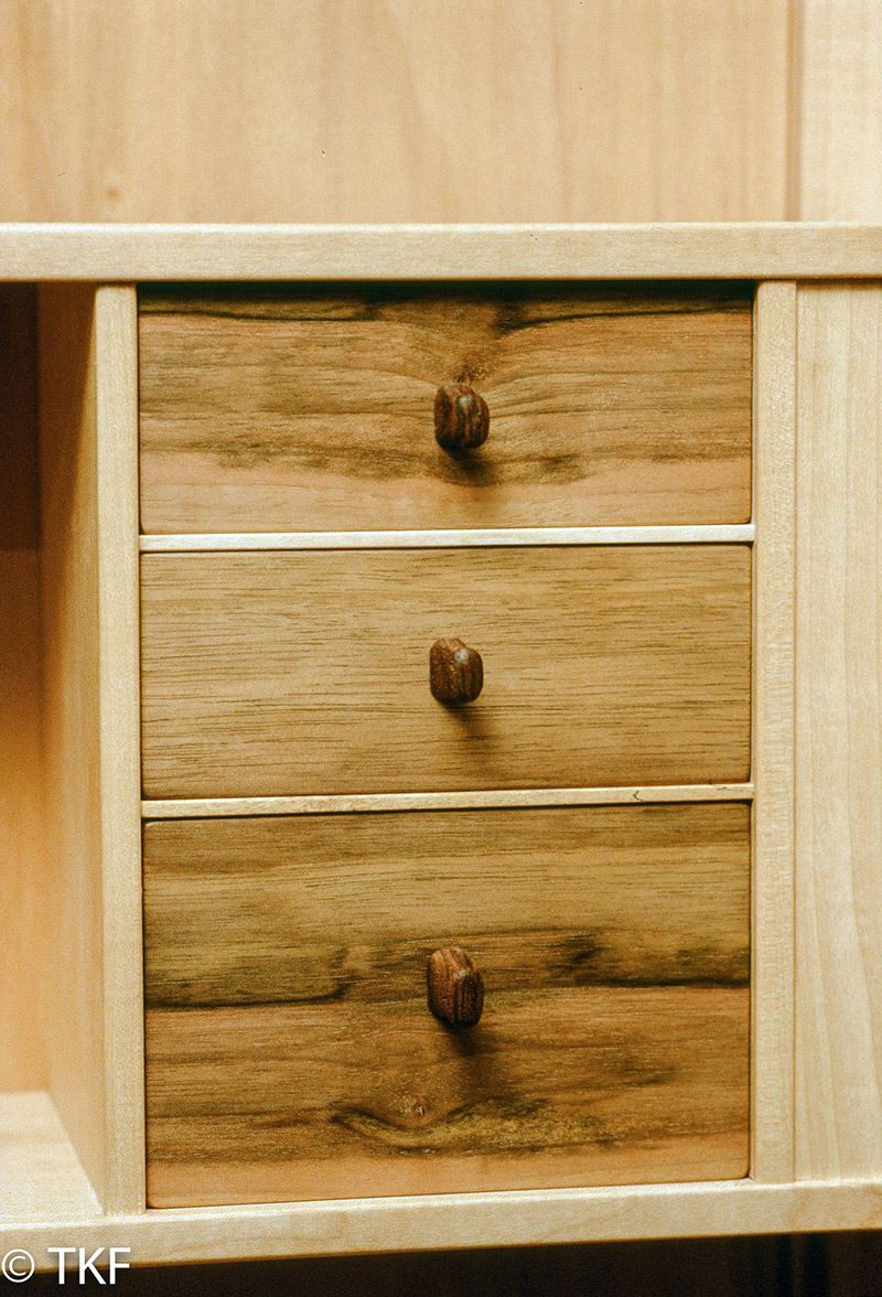 V-Front Figured Maple Wall Cabinet
